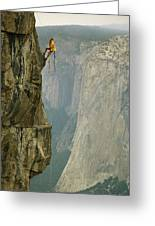 A Climber Makes His Way Up A Rock Face Greeting Card