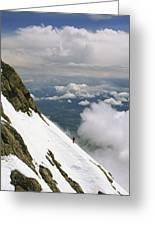 A Climber Walks Along A Steep Slope Greeting Card