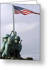 A Close Up Of The Iwo Jima Bronze Greeting Card