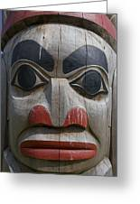 A Close View Of The Carvings Of A Totem Greeting Card