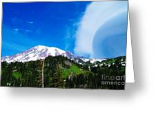 A Cloud Near Mt Rainer  Greeting Card