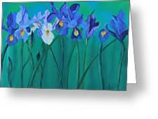 A Clutch Of Irises Greeting Card