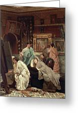 A Collector Of Pictures At The Time Of Augustus Greeting Card by Sir Lawrence Alma-Tadema