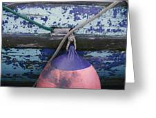 A Colorful Buoy Hangs From Ropes Greeting Card