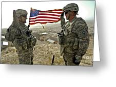 A Commander Re-enlists Master Sergeant Greeting Card