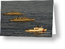 A Convoy Of Naval Ships Move Greeting Card