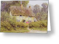 A Country Cottage Greeting Card by Helen Allingham