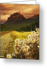 A Country Road With A Mountain In The Greeting Card
