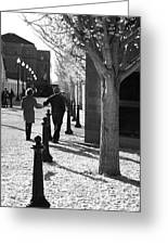 A Couple Walking Together Holding Hands Downtown Asheville Greeting Card
