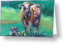 A Cow And Her Calf Greeting Card