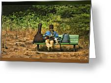 A Day On A Bench Greeting Card