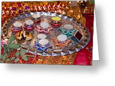 A Decorated Hindu Prayer Thaali With Wax Candles Oil Lamps Greeting Card