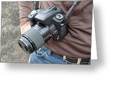 A Digital Camera Is The Chief Tool Of This Photographer Greeting Card