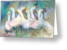 A Disorderly Group Of Geese Greeting Card