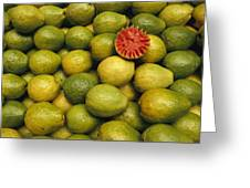 A Display Of Guavas In An Open Air Greeting Card