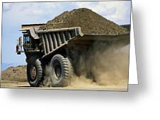 A Dump Truck Carrying Gravel Kicks Greeting Card