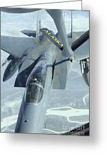 A F-15 Eagle Receives Fuel Greeting Card by Stocktrek Images