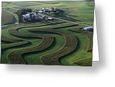 A Farm With Curved And Twisting Fields Greeting Card