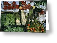 A Farmers Market Selling Vegetables Greeting Card