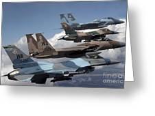 A Flight Of Aggressor F-15 And F-16 Greeting Card