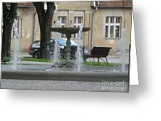 A Fountain In Silute Lithuania Greeting Card