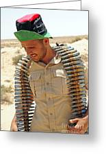 A Free Libyan Army Soldier With An Greeting Card