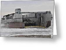 A French Landing Craft Comes Ashore Greeting Card