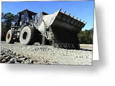 A Front End Loader Raising A Road Bed Greeting Card