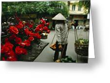 A Fruit Vendor In A Conical Hat Passes Greeting Card by Justin Guariglia