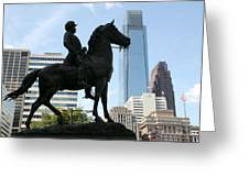 A General And His Horse In Philly Greeting Card