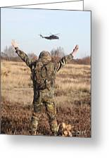 A German Army Soldier Guides A Ch-53gs Greeting Card