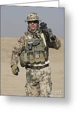 A German Soldier Carries A Barrett Greeting Card