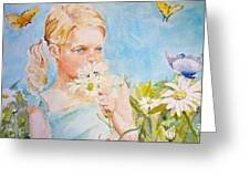 A Girl In The Garden Greeting Card by Dorothy Herron