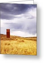 A Grain Elevator In A Field Greeting Card