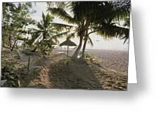 A Hammock, Umbrella, And Swaying Palms Greeting Card