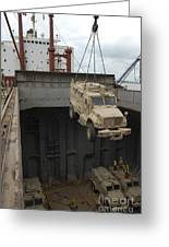 A Harbor Crane Lifts A Mine-resistant Greeting Card