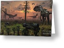 A Herd Of Allosaurus Dinosaur Cause Greeting Card