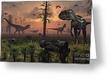 A Herd Of Allosaurus Dinosaur Cause Greeting Card