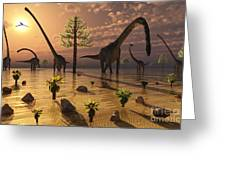 A Herd Of Omeisaurus Dinosaurs Grazing Greeting Card
