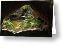 A Huge Hole In Rock With A Water View Greeting Card