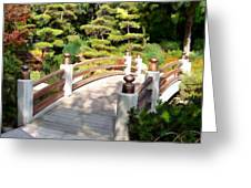 A Japanese Garden Bridge From Sun To Shade Greeting Card
