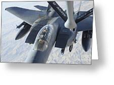 A Kc-135 Stratotanker Refuels An F-15e Greeting Card