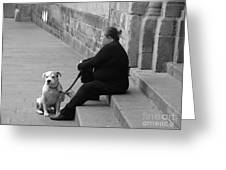 A Lady With Her Dog In Barcelona Greeting Card