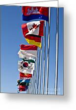 A Line Of Flags Represent The Countries Greeting Card
