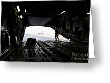 A Loadmaster Guides The Pilot Of A C-17 Greeting Card