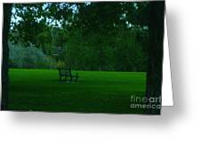 A Lonely Autumn Bench  Greeting Card