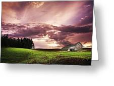 A Lonely Farm Building In An Open Field Greeting Card