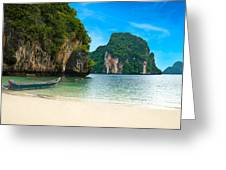 A Long Tail Boat By The Beach In Thailand  Greeting Card