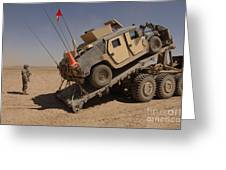 A M1114 Armored Vehicle Is Unloaded Greeting Card