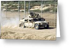 A M1114 Humvee Patrols The Perimeter Greeting Card